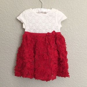 Little Girl's Laced Floral Red White Dress